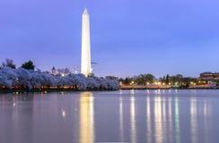 Washington Monument at dusk DC Royalty Free Stock Images