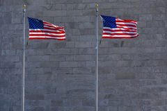 Washington Monument Flag Detail Fotografie Stock