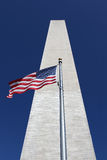 Washington Monument and Flag Stock Photos