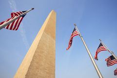 Washington Monument and Flags Royalty Free Stock Images