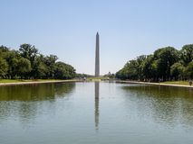 Washington Monument framme av den reflekterande pölen på nationell galleria på solig dag royaltyfri bild