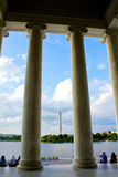 Washington Monument from Jefferson Memorial. Royalty Free Stock Images