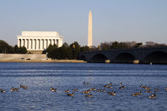 Washington Monument and Lincoln memorial aligned Stock Image