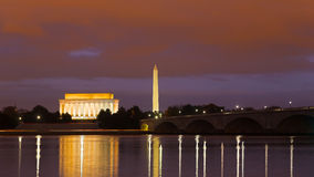 Washington Monument, Lincoln Memorial and Arlington Memorial Bridge at night. Stock Images