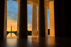 Washington Monument from Lincoln Memorial at Sunrise in Washington, DC Royalty Free Stock Photography