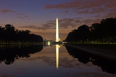 Washington Monument in the National Mall, Washington DC. Washington Monument on sunset sky background in the dusk Royalty Free Stock Photo