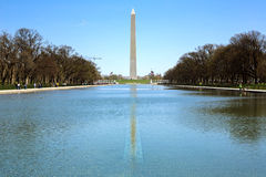Washington Monument in new reflecting pool Stock Photos