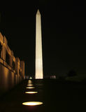 Washington Monument at Night. View of the Washington Monument at night, capitol building in the background stock images
