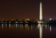 Washington Monument at night with city skyline on background. Royalty Free Stock Image