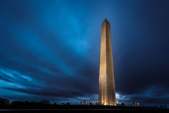 Washington Monument at Night. With dramatic clouds stock photos