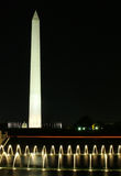 Washington Monument at Night Over Water. View of the Washington Monument at night, capitol building in the background Stock Photography