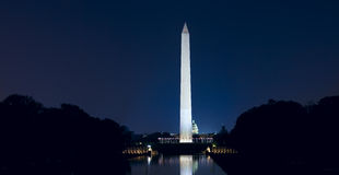 Washington Monument at Night with US Capitol Stock Image