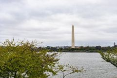 Washington Monument Obelisk. Washington DC, USA - October 12, 2017: View of the historical obelisk named Washington Monument that honors America's first royalty free stock photos