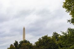 Washington Monument Obelisk. Washington DC, USA - October 12, 2017: View of the historical obelisk named Washington Monument that honors America's first stock photo