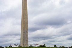Washington Monument Obelisk. Washington DC, USA - October 12, 2017: View of the historical obelisk named Washington Monument that honors America's first stock image