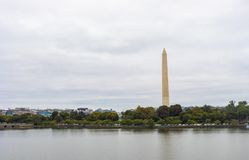 Washington Monument Obelisk. Washington DC, USA - October 14, 2017: View of the historical obelisk named Washington Monument that honors America's first stock image