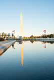 Washington Monument reflected in pool. Washington Monument at sunset reflected in the Reflecting Pool Royalty Free Stock Image