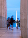 Washington monument reflecting from Jefferson Stock Photography