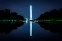 The Washington Monument reflecting in the Reflection Pool at night at the National Mall in Washington, DC. stock photography