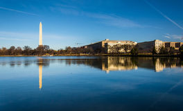 The Washington Monument reflecting in the Tidal Basin, Washingto Stock Images