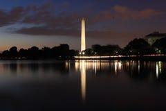 Washington monument reflection on tidal basin. Night photography at Washington DC long exposure Royalty Free Stock Photos