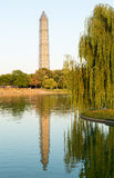 Washington Monument scaffolding reflecting in pool Royalty Free Stock Images