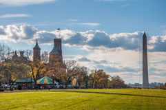Washington Monument and the Smithsonian Building on the National Mall. Washington D.C Royalty Free Stock Images