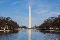 Washington Monument in Springtime with Reflecting Pool Royalty Free Stock Image