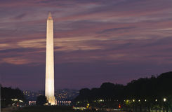 Washington Monument at Sunset. Focus on monument against purple and pink sky Stock Photography