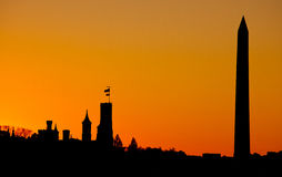 Washington monument sunset. A silhouette of the washington monument at sunset Stock Images