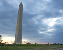 Washington Monument at sunset. With heavy clouds Royalty Free Stock Photography