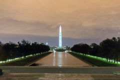 Washington Monument after Sunset. Washington Monument with the reflection pool after Sunset on a cloudy night Royalty Free Stock Photography