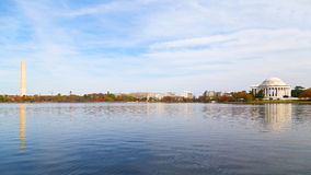 Washington Monument and Thomas Jefferson Memorial in the Fall. Stock Images