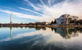 The Washington Monument and Thomas Jefferson Memorial reflecting Royalty Free Stock Photography