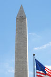 Washington Monument with the U.S. flag Royalty Free Stock Photo