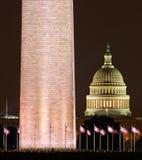 Washington Monument- und Kapitol-Gebäude Lizenzfreie Stockfotos