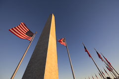Washington Monument and US Flag Royalty Free Stock Photo