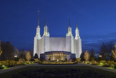 Washington Mormon Temple at night Stock Images