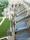 Washington National Cathedral flying buttresses. Bird's eye view. Modern Gothic Cathedral in Washington DC. Buttresses supporting walls of North transept Stock Photo