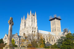 Washington National Cathedral grounds in US capital in autumn. Stock Photos