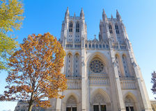 Washington National Cathedral in US capital in autumn. Royalty Free Stock Images