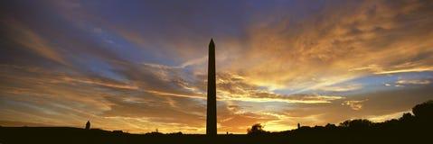 Washington National Monument at Sunrise in Washington D.C. in panoramic format Stock Photos