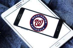 Washington Nationals baseball team logo. Logo of Washington Nationals baseball team on samsung mobile. The Washington Nationals are a professional baseball team Stock Photo