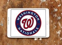 Washington Nationals baseball team logo. Logo of Washington Nationals baseball team on samsung tablet on wooden background. The Washington Nationals are a Stock Photos