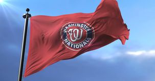 Washington Nationals flag, american professional baseball team, waving - loop. Flag of the team of Washington Nationals, american professional baseball team stock video