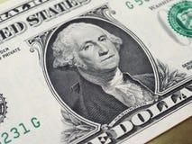 Washington på den 1 dollar anmärkningen, Förenta staterna royaltyfria bilder
