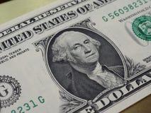 Washington på den 1 dollar anmärkningen, Förenta staterna royaltyfri bild