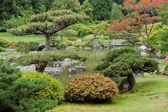 Washington Park Arboretum. Detail of the Japanese Garden with red leaves trees in  Washington Park Arboretum, Seattle. west coast of United States Stock Image