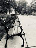 Washington Park Cincinnati black and white image of park benches. Black and white image of park benches Stock Photo