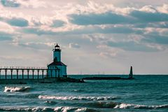 Washington Park LightHouse in Michigan City on a fall evening on 9/26/2018 stock photos